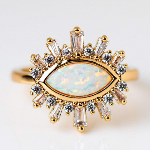 Opal Eye Statement Yellow Gold Ring Baguette CZ Elizabeth Stone