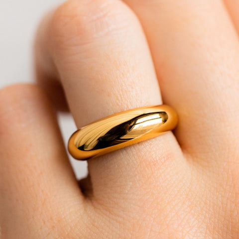 bold minimal statement ring yellow gold dome ring