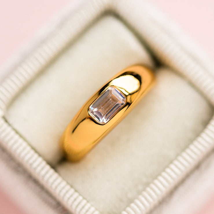 Yellow Gold Baguette Dome Ring Modern Statement Jewelry
