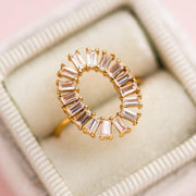 Yellow Gold Oval Baguette Stone Statement Ring Elizabeth Stone Jewelry
