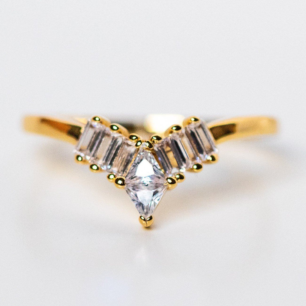 tiara ring in yellow gold unique dainty stacking ring