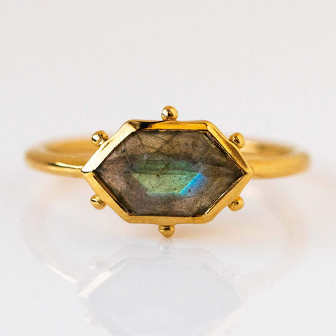 Hex Ring in Labradorite