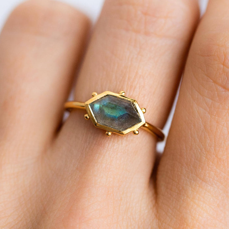 Hex Ring in Labradorite rings Elizabeth Stone