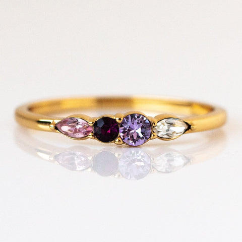 Dainty Princess Birthstone Ring February