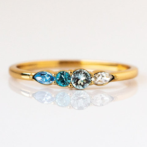 Dainty Princess Birthstone Ring March