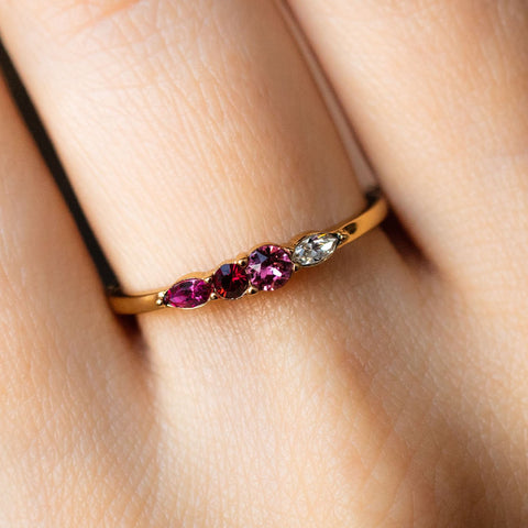 Dainty Princess Birthstone Ring July
