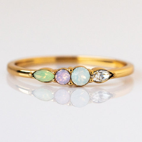 Dainty Princess Birthstone Ring October