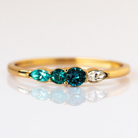 Dainty Princess Birthstone Ring December