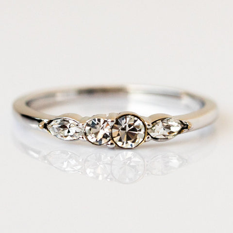 Dainty Princess Birthstone Ring April in Silver