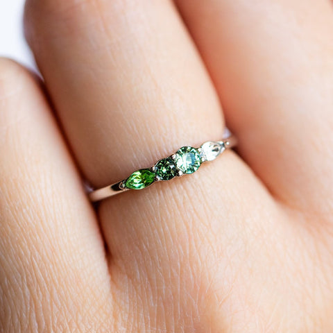 Dainty Princess Birthstone Ring August in Silver