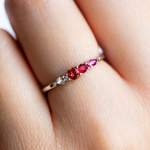 Dainty Princess Birthstone Ring January in Silver