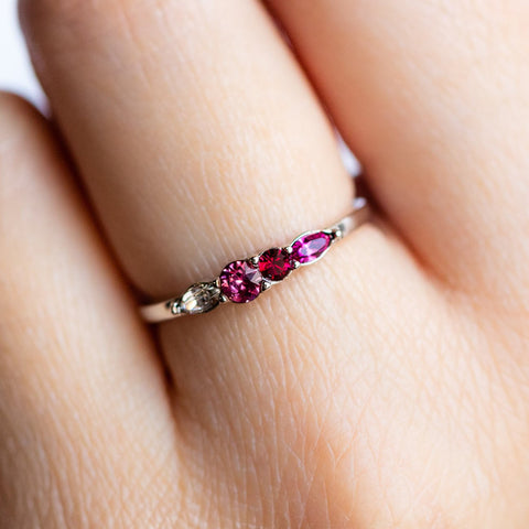 Dainty Princess Birthstone Ring July in Silver