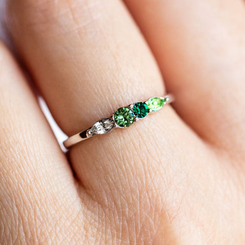 Dainty Princess Birthstone Ring May in Silver