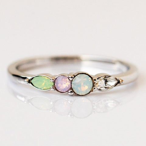 Dainty Princess Birthstone Ring October in Silver