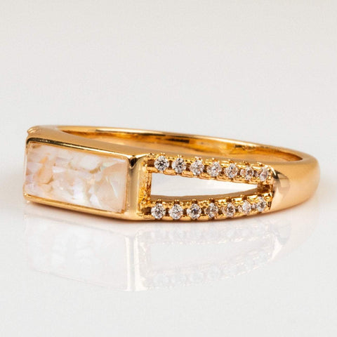 Double Band Cracked Mother of Pearl Ring