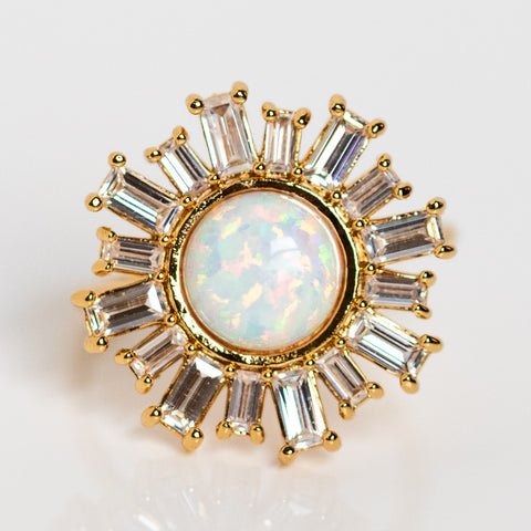 flora ring with opal statement baguette cz yellow gold ring