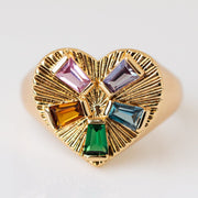 Modern Love Signet Ring in Rainbow unique yellow gold heart shaped ring