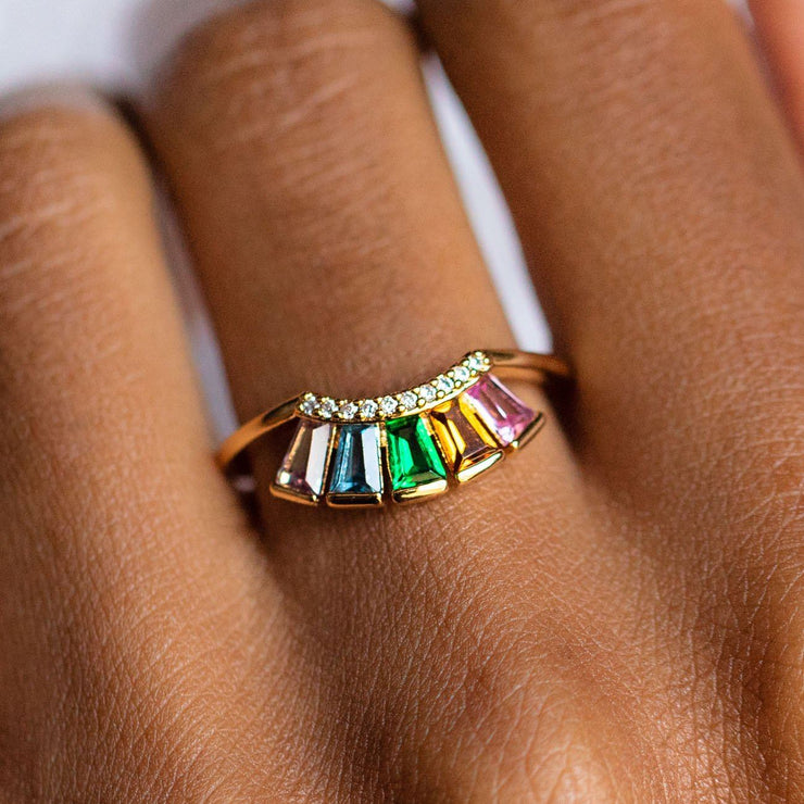 Modern Love Crown Ring in Rainbow dainty yellow gold rainbow ring