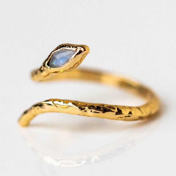 Mystic Serpent Ring in Labradorite yellow gold modern snake inspired jewelry