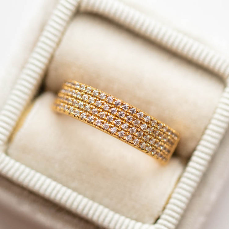 Wide Pave Band Ring minimal modern yellow gold jewelry elizabeth stone local eclectic