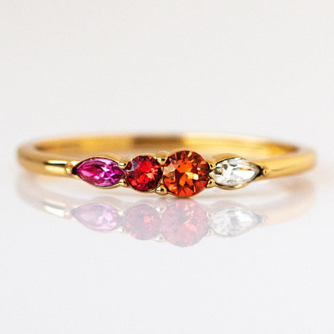 Dainty Princess Birthstone Ring January