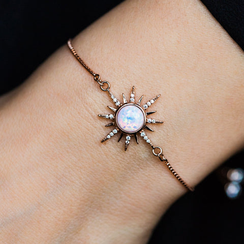 Gemstone Starburst Bracelet with White Opal - bracelets - Elizabeth Stone local eclectic