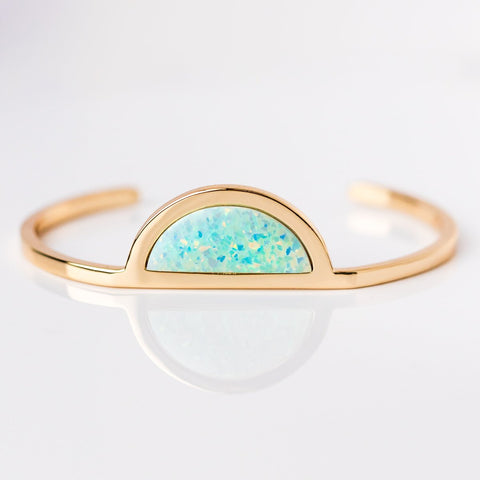 Moon Gazer Skinny Cuff with Blue Opal - bracelets - Elizabeth Stone local eclectic