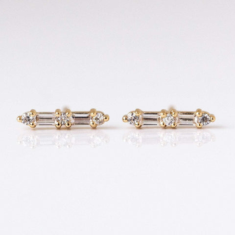CZ Baguette Crawlers - earrings - Elizabeth Stone local eclectic