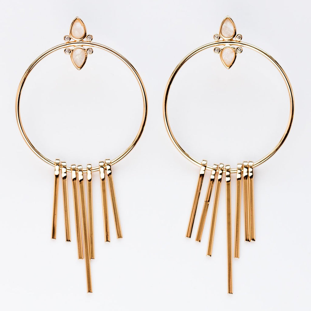 Gemstone Fringe Hoop Earrings with Moonstone - earrings - Elizabeth Stone local eclectic