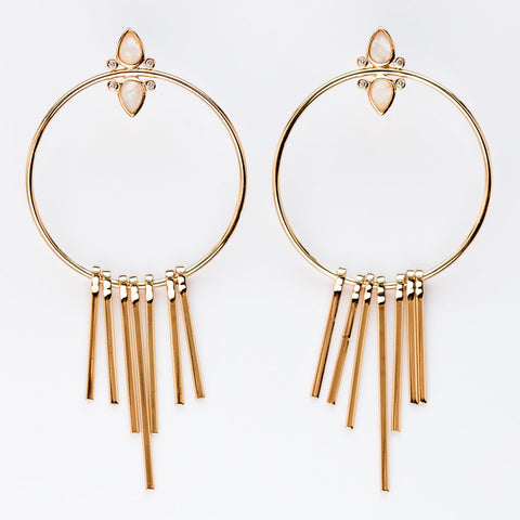 Gemstone Fringe Hoop Earrings with Moonstone