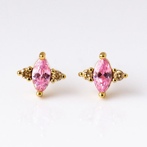 CZ Studs in Pink - earrings - Elizabeth Stone local eclectic