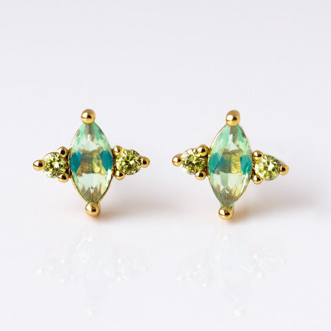 CZ Studs in Aqua - earrings - Elizabeth Stone local eclectic