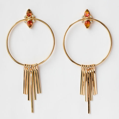 Gemstone Tear Drop Fringe Hoops with Watermelon Tourmaline