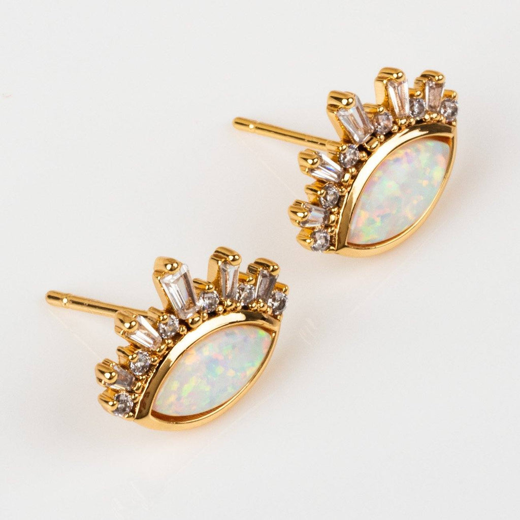Athena Yellow Gold Stud Earring Eye Shaped Statement Stud Jewelry
