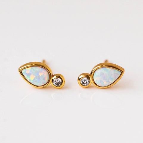 Chic Minimal Deco Opal Drop Stud Earrings Yellow Gold Jewelry