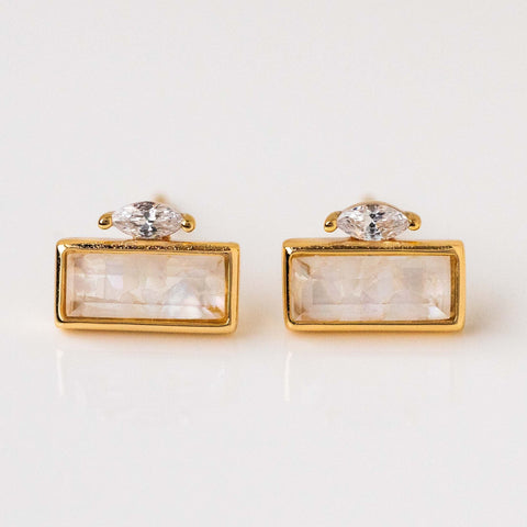 Cracked Mother of Pearl Statement Stud Modern Earrings Yellow Gold CZ