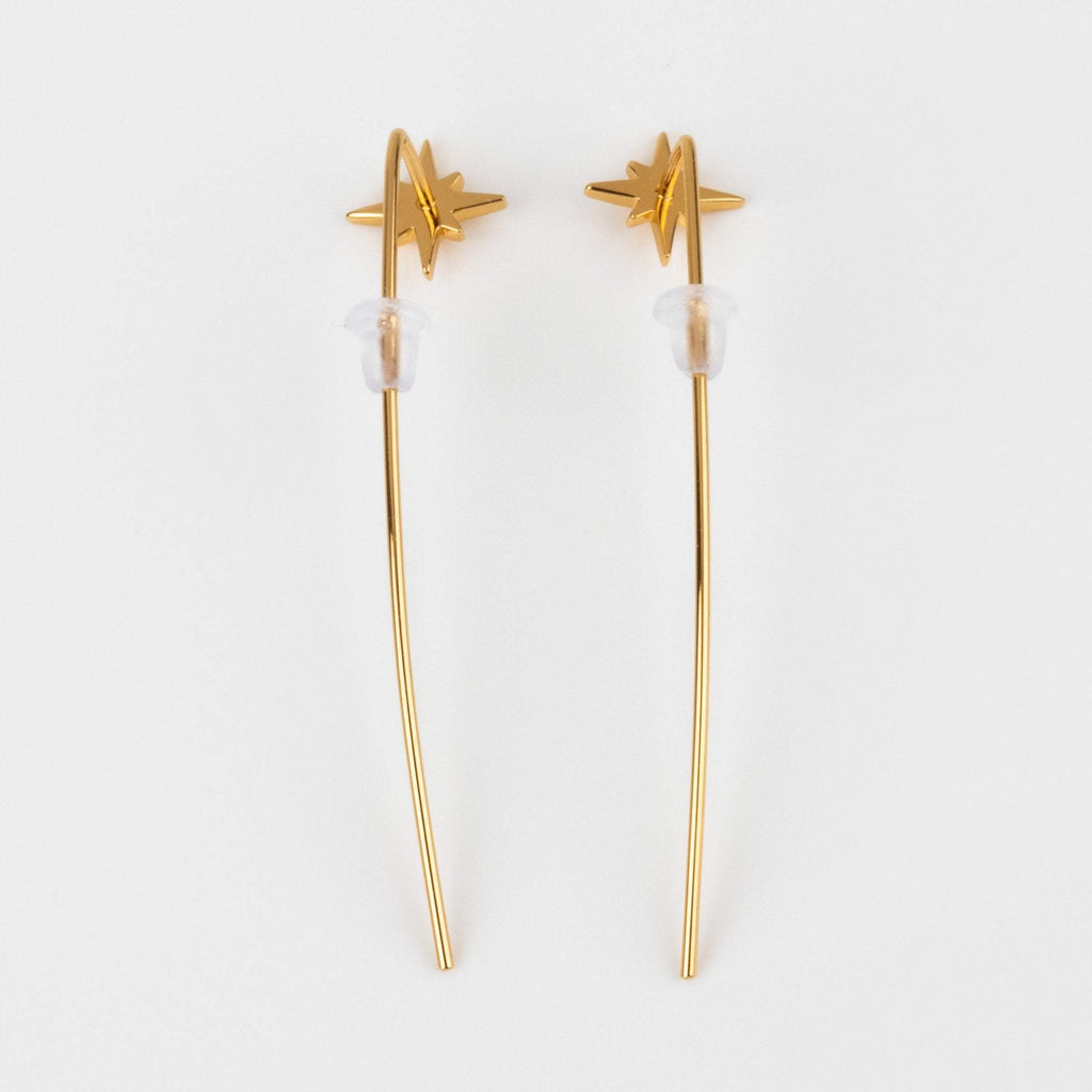 Starburst Swoop Ear Threader Earrings Yellow Gold Stars Unique Jewelry