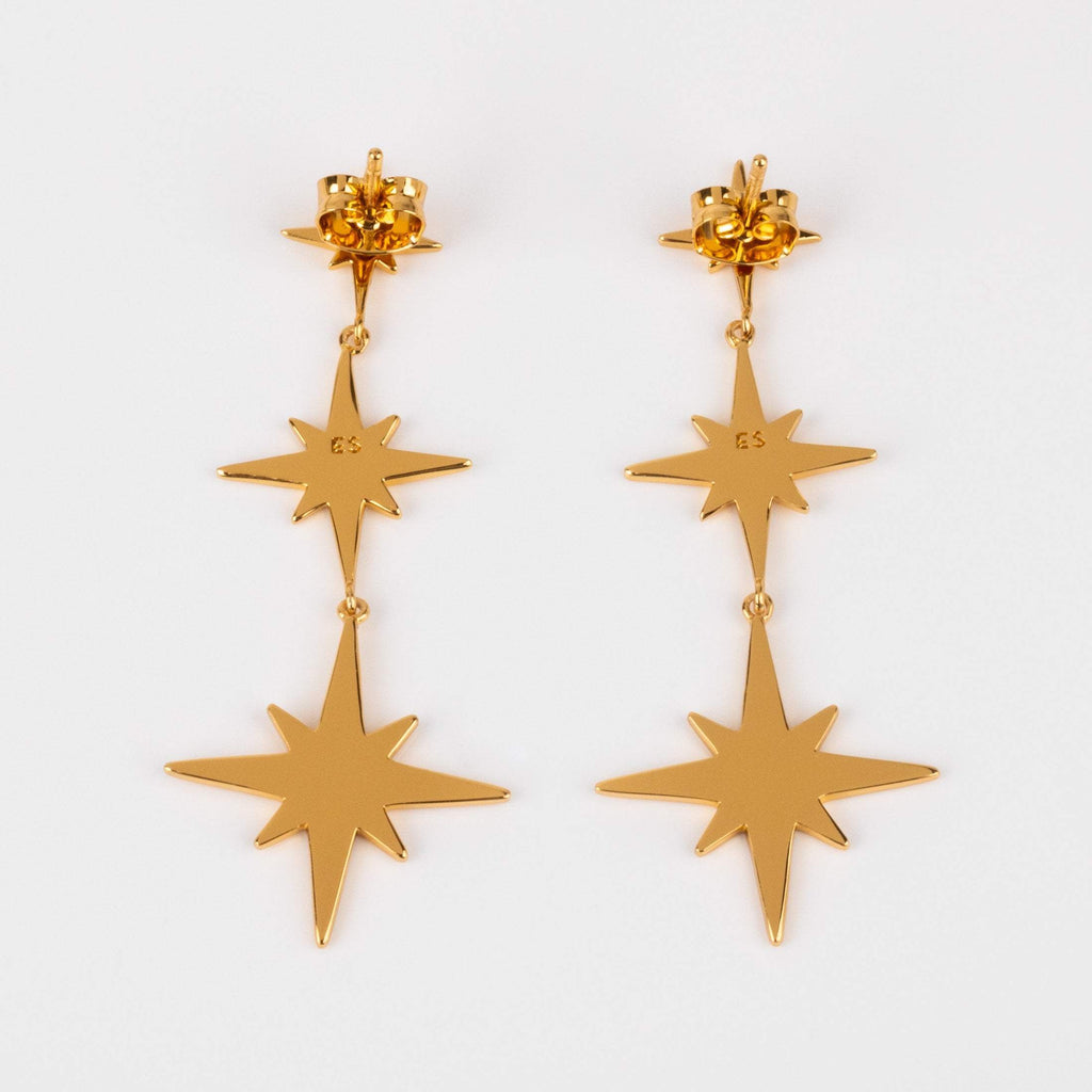 Starburst Drop Statement Earrings Yellow Gold Star Dangle Jewelry