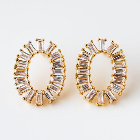 Oval Baguette Statement Stud Earrings Yellow Gold Jewelry