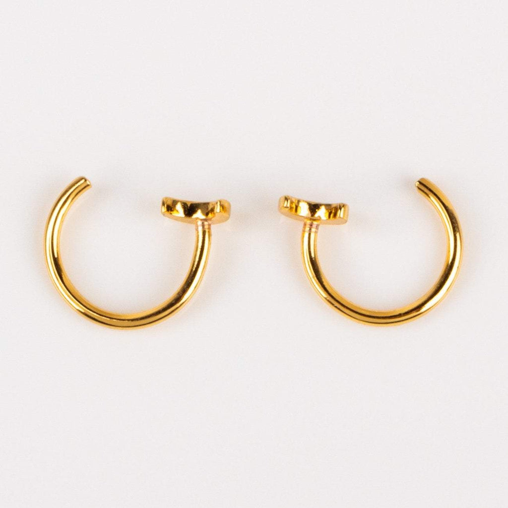 Teeny Tiny Moon Stud Hugger Earrings Yellow Gold Celestial Jewelry