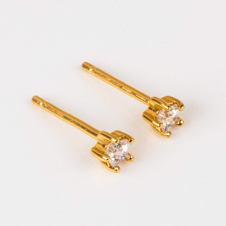Yellow Gold Tiny Star CZ Stud Earrings Celestial Jewelry