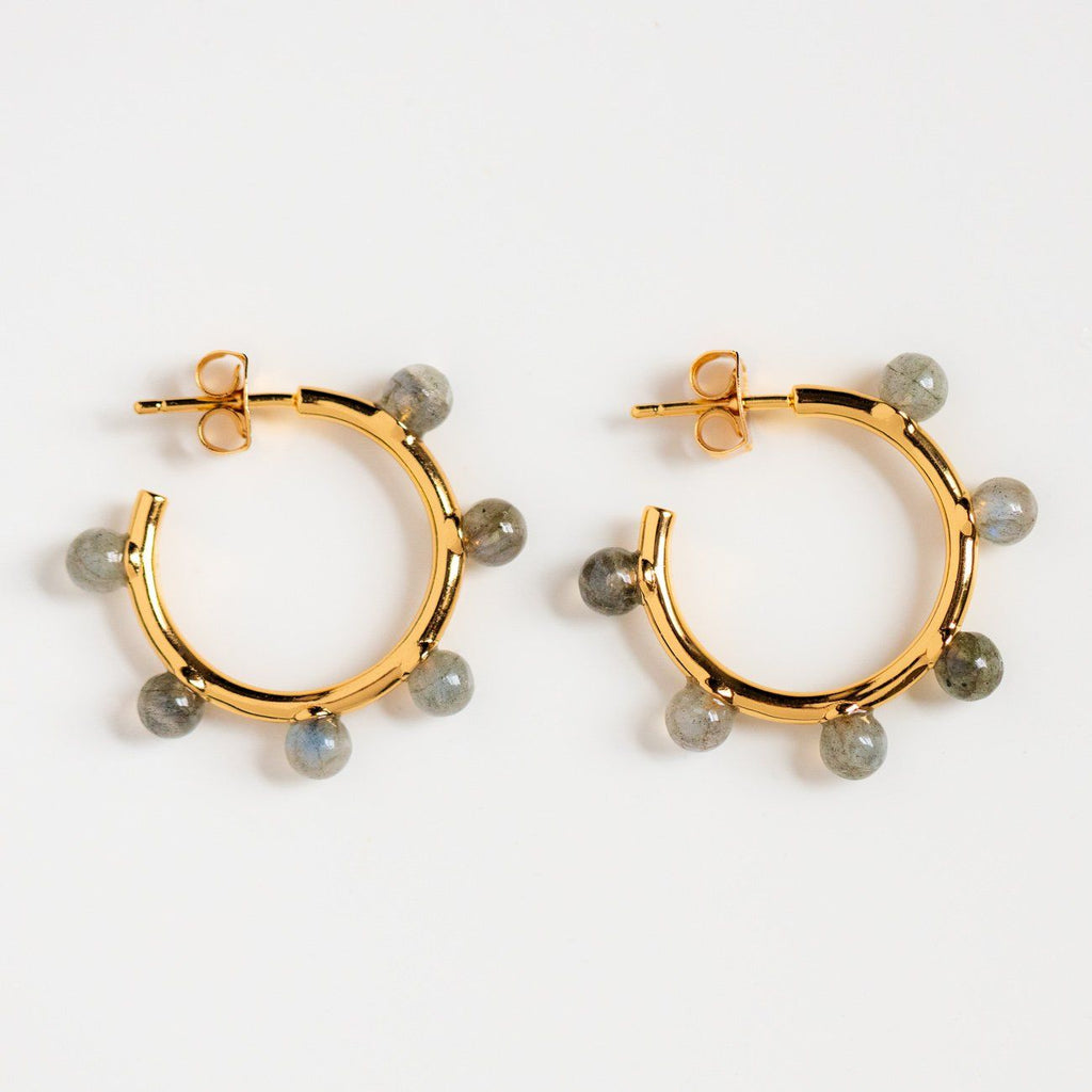 labradorite statement hoop earrings unique bon bon hoops yellow gold jewelry