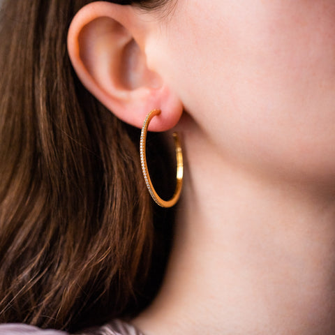 skinny pave hoop earrings yellow gold dainty hoops