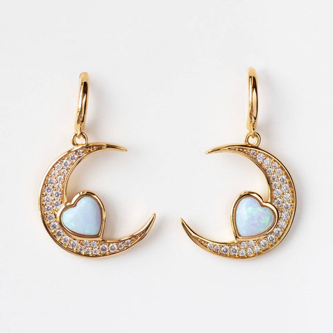 Love You to the Moon Hoop Earrings in Blue Opal