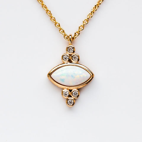 Gemstone Eye Pendant Necklace - necklaces - Elizabeth Stone local eclectic