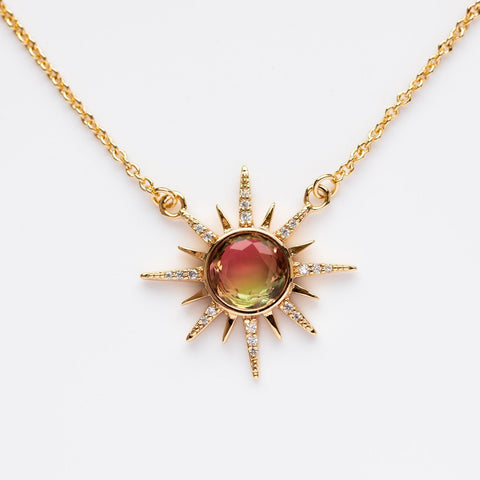Gemstone Starburst Necklace with Watermelon Tourmaline