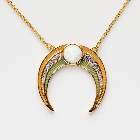 Sea Glass Enamel Crescent Necklace in Opal