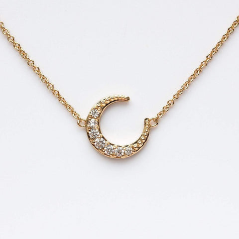 CZ Moon Necklace - necklaces - Elizabeth Stone local eclectic