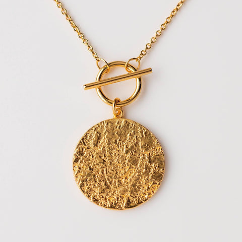 Textured Coin Necklace Toggle Pendant Yellow Gold Lariat Jewelry