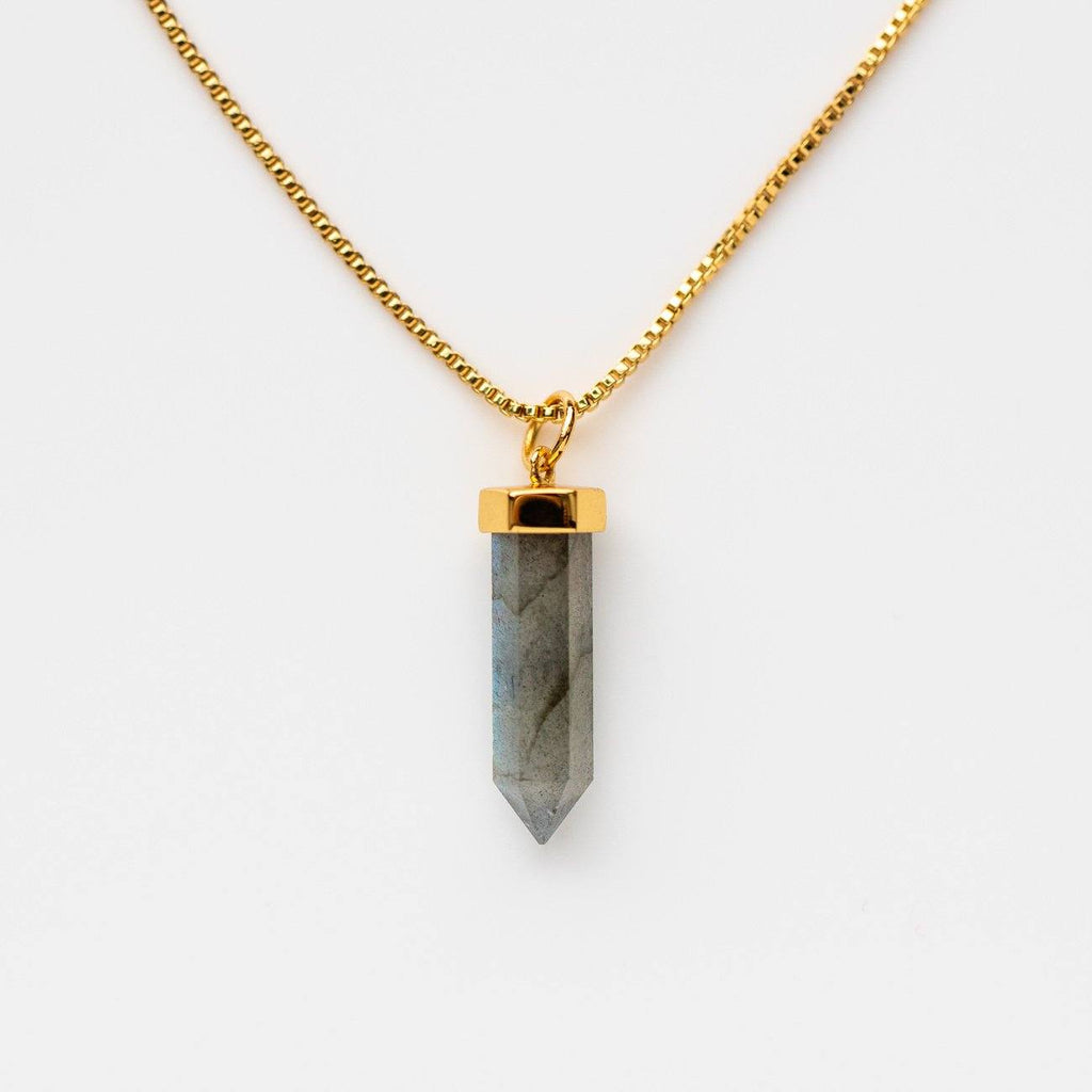 Crystal Cut Labradorite Gold Box Chain Yellow Gold Pendant Necklace